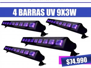 pack 4 barras uv fluor 9x3w