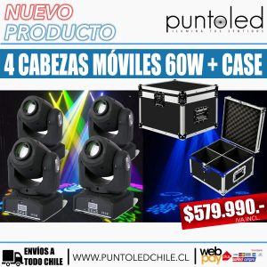 kit 4 cabezas moviles 60w + case